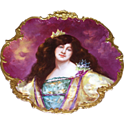 "Gorgeous Ornate Limoges Charger with Portrait of a Raven Haired Beauty; Artist Signed ""Dubois"""
