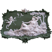 Large Volkstedt German Jasperware Plaque; Cupid with Dragonflies; Reclining Semi-Nude Lady
