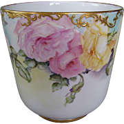 Delicate and Feminine Limoges Planter Decorated with Pink and Yellow Roses on Stem and Leaf and Beautiful Raised Gold Paste Filigree Around the Rim
