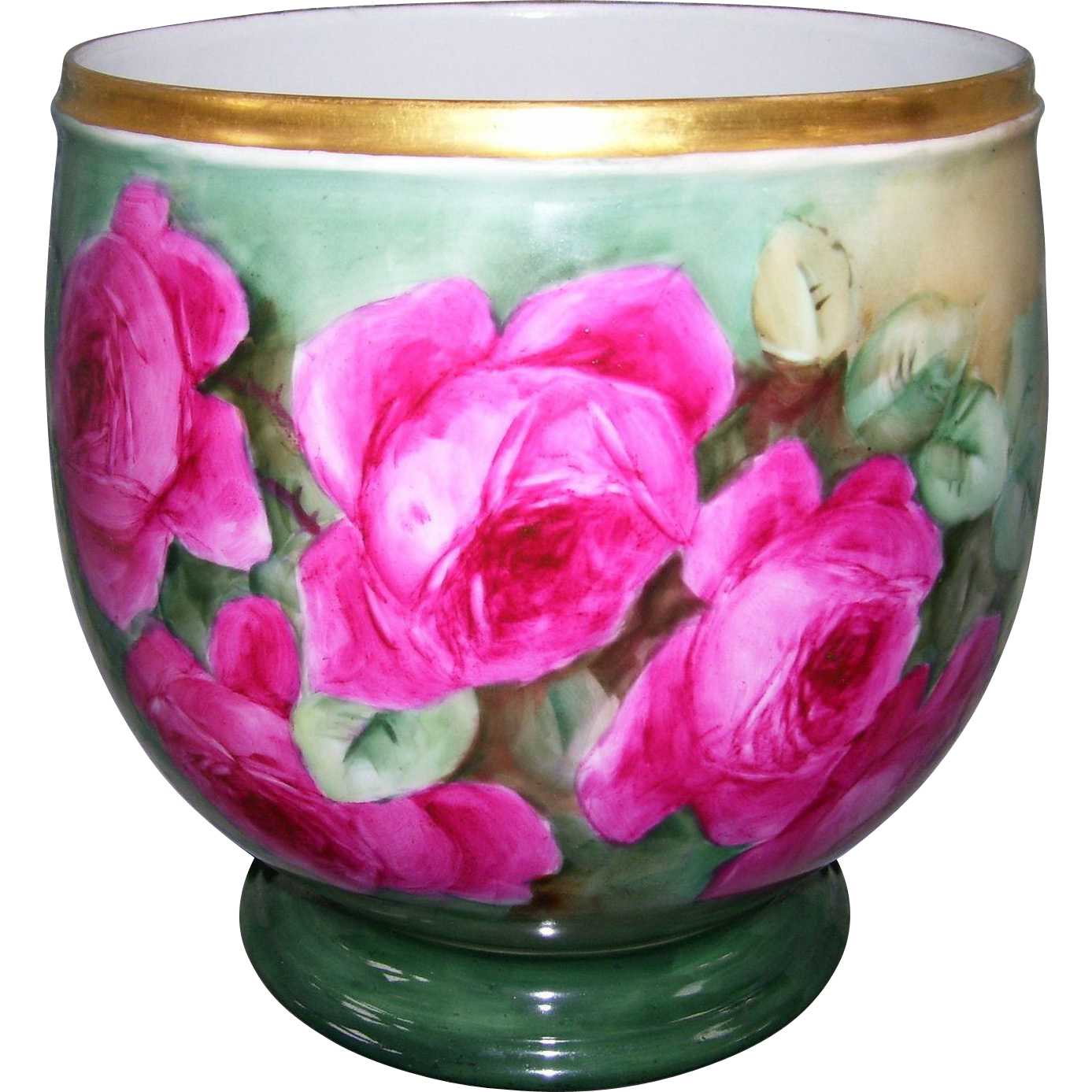 Gorgeous Limoges Jardiniere/Planter Covered in Hand Painted Deep Pink Roses