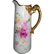 "Gorgeous Willets Belleek Pitcher; Hand Painted Roses; Artist Signed ""Marsh""; Dragon Handle"