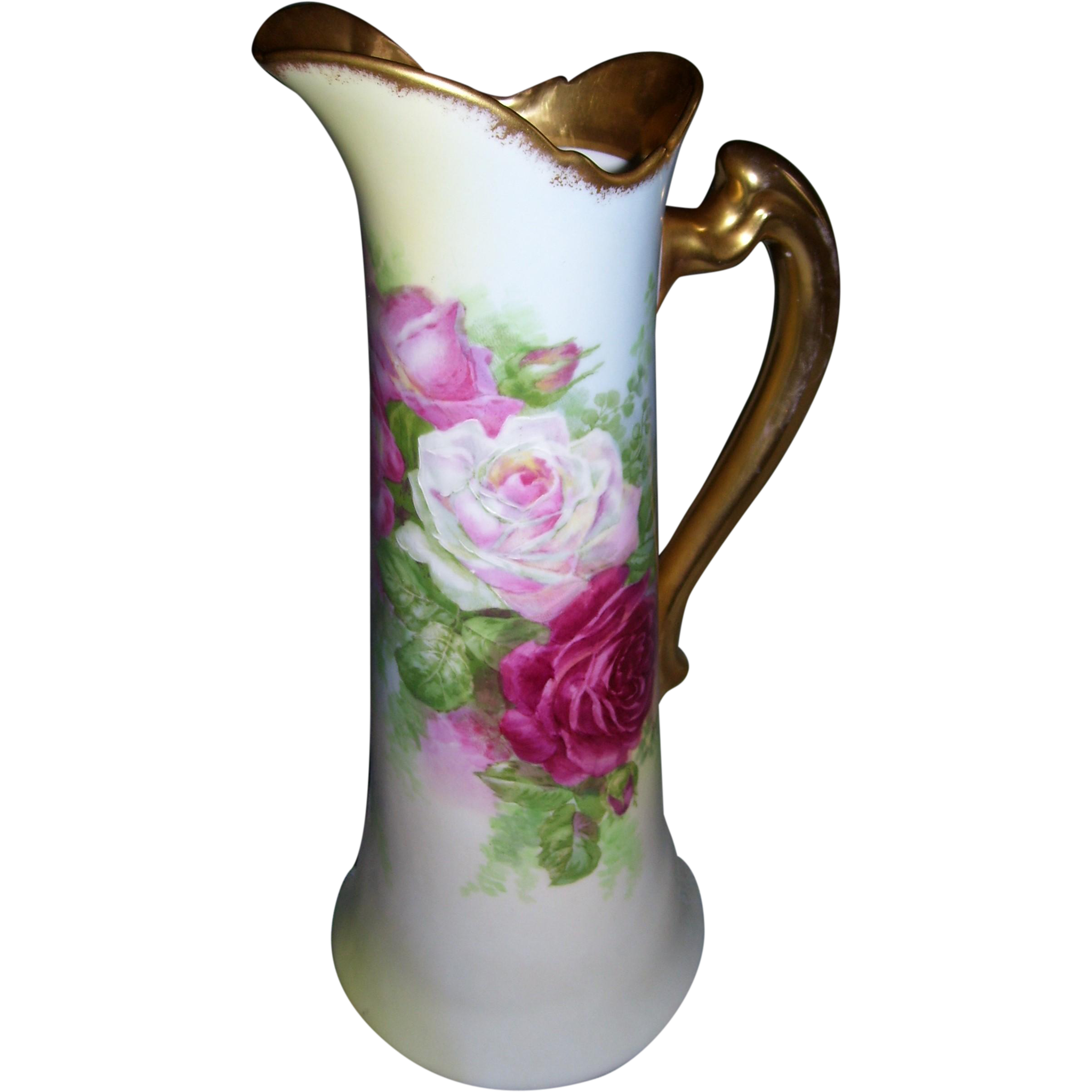 "Fabulous, Rare Coronet Limoges Tankard; Beautiful Hand Painted Roses; Artist Signed ""Rancon"""