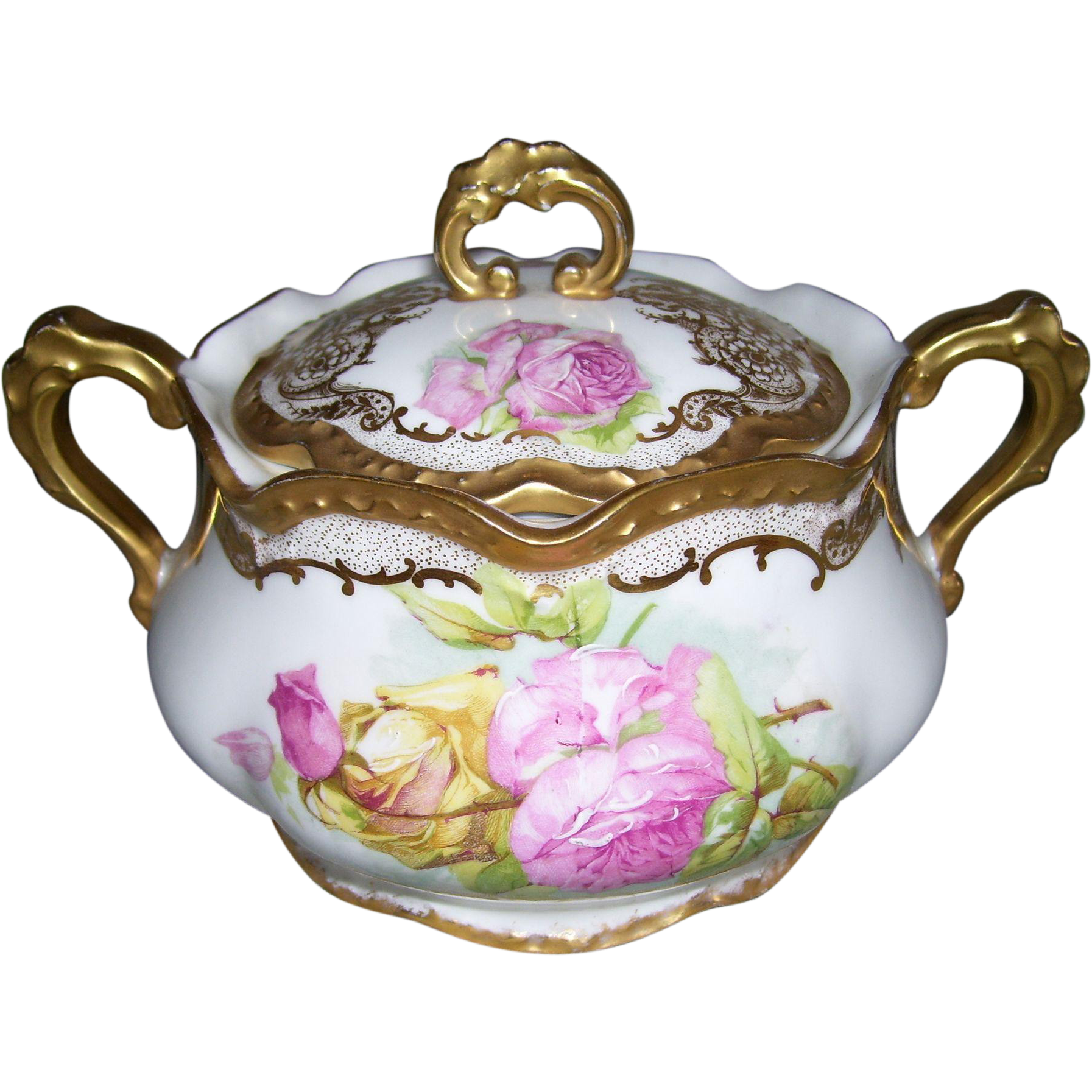 Limoges France Biscuit Jar Decorated in the Mixtion Method With Stencilled Roses Embellished with Hand Painting and an Abundance of Fancy Gold Filigree and Gilded Handles, Finial, Top and Bottom Scalloped Rims