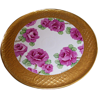 "Vintage Schumann Bavaria Fancy Large Tray Decorated With Pink Roses on Stem and Leaf; Wide Embossed Gold Border; Artist Signed ""G. SPENCER"""