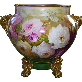 J.P.L. Limoges France Hand Painted Jardinière on Paw Foot Plinth; 13 ½ Inches Across the Elephant Handles; Gorgeous Roses