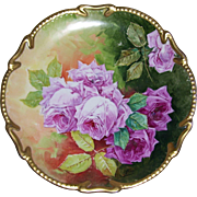 "Large Limoges Charger/Plaque; Exquisite Pink Roses on Step and Leaf; Fancy Gold Border; Artist Signed ""Aubin"""