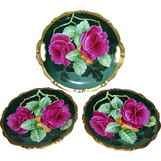 Very Desirable Elite Limoges Cake Set Decorated with Red Roses; Serving Plate with Handles & Two Plates; Artist Signed L. Auguste