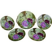 Stunning Limoges Art Nouveau Cake Set; Handled Serving Plate with Four Cake Plates; Roses and Gold; Artist Signed Roby