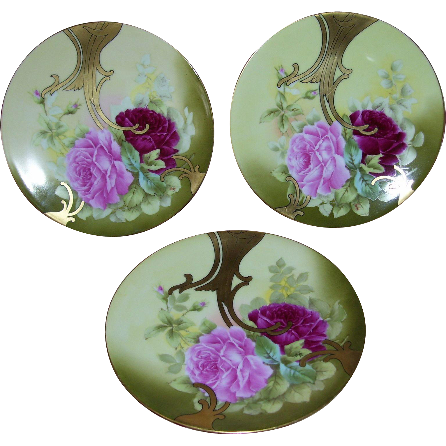 Stunning Limoges Art Nouveau Set of three, 9 ¼ Inch Diameter Plates; Roses and Gold; Artist Signed Roby