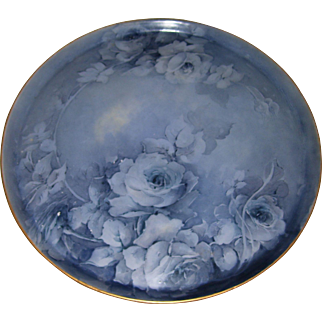"Beautiful, Unusual, Large T&V Limoges 16 Inch Tray Decorated With Hand Painted, Monochromatic Blue Roses; Artist Signed ""Hayden"""