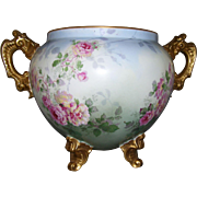 Gorgeous Large Limoges Jardiniere; Gilded Handles and Feet; Multi Colored Roses