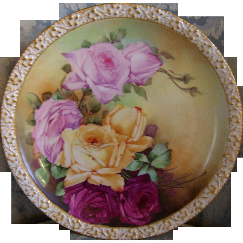 "Gorgeous Limoges Charger; Multi Colored Roses; Artist Signed ""P. J. Connin"" ; Tressemann & Vogt"