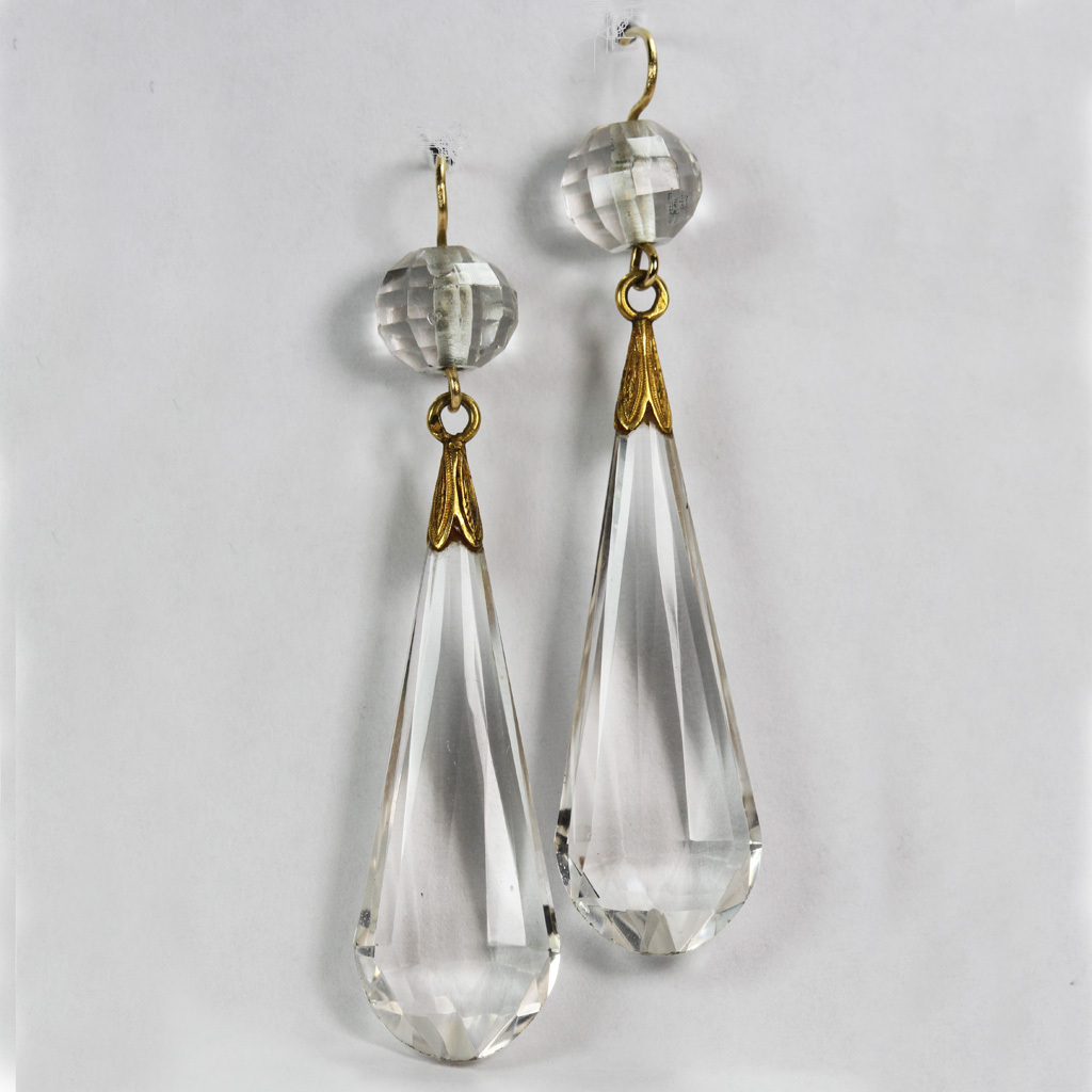 Dramatic French 18K Crystal Earrings Circa 1840