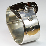 Chic Mexican Silver Buckle Bangle Bracelet