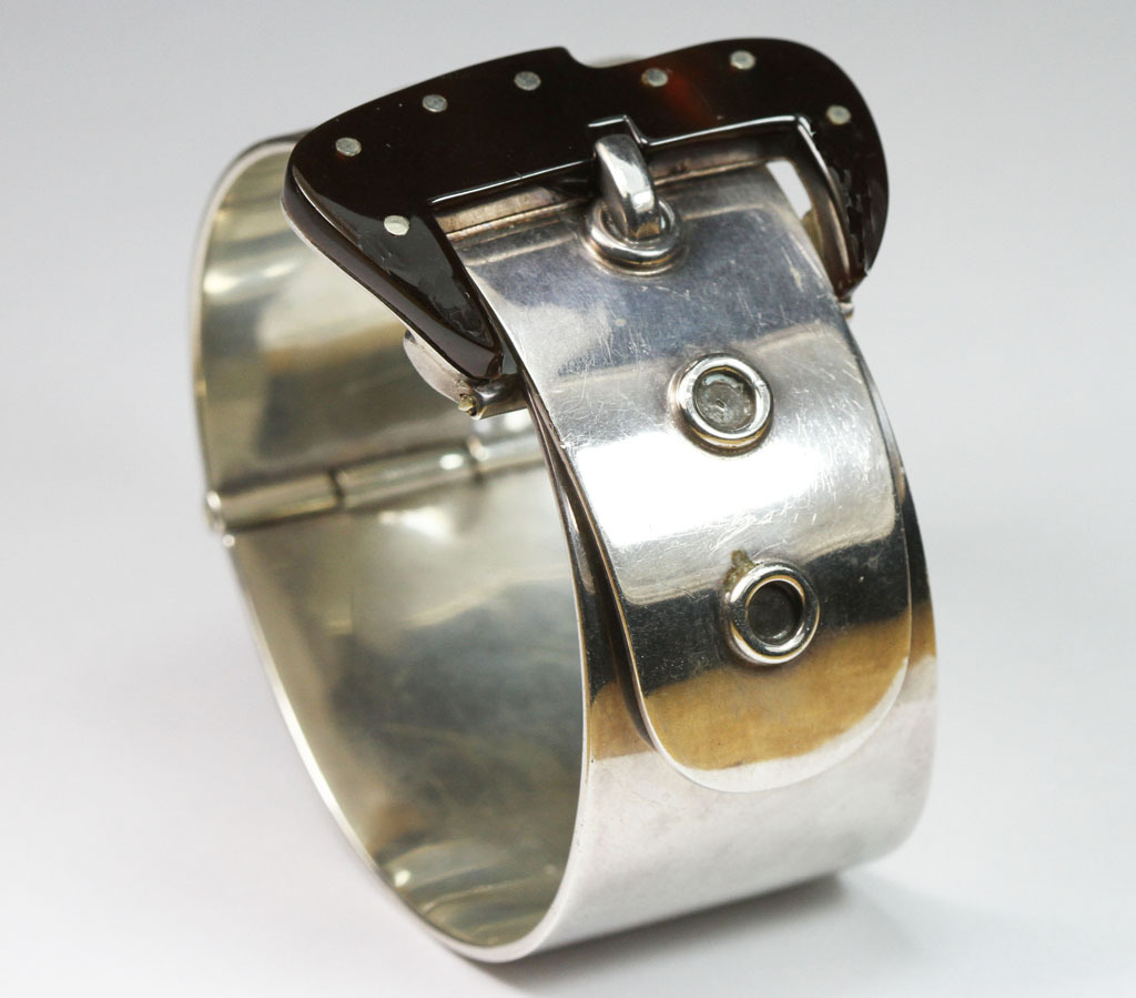 Striking Mexican Silver Buckle Bangle Bracelet
