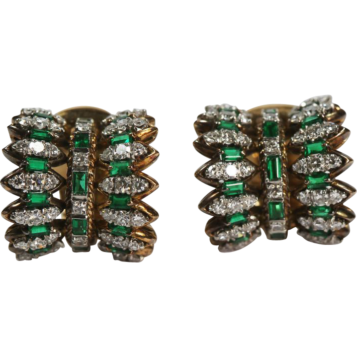Fine Mid Century Emerald Diamond Earrings