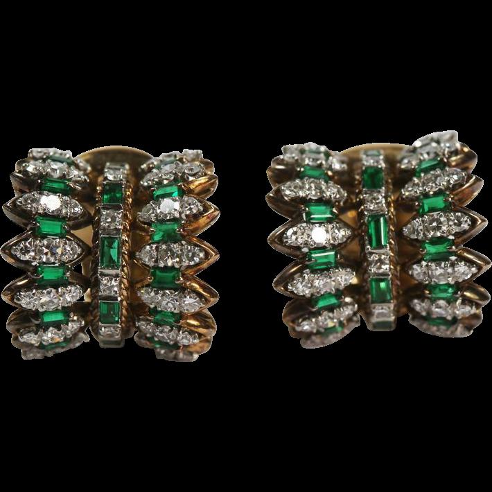 Fine Mid Century Emerald Diamond Earrings
