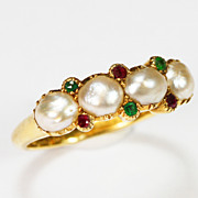Antique Lustrous Pearl and Gemstone Ring