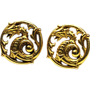 Antique French Art Nouveau 18 Karat  Gold Cufflinks