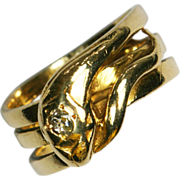 Antique  Gold and Diamond Snake Ring Eternal Love