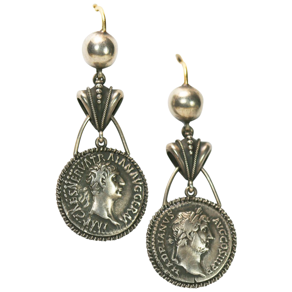 authentic antique silver gold coin earrings sold on ruby