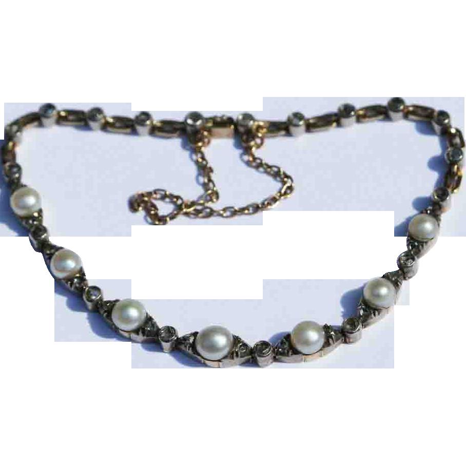 Antique French Pearl Diamond Bracelet