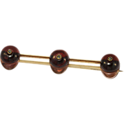 Antique Gold Garnet Diamond Jockey Cap Pin