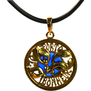 Unique Antique French Art Nouveau Gold  Luck/Love Pendant