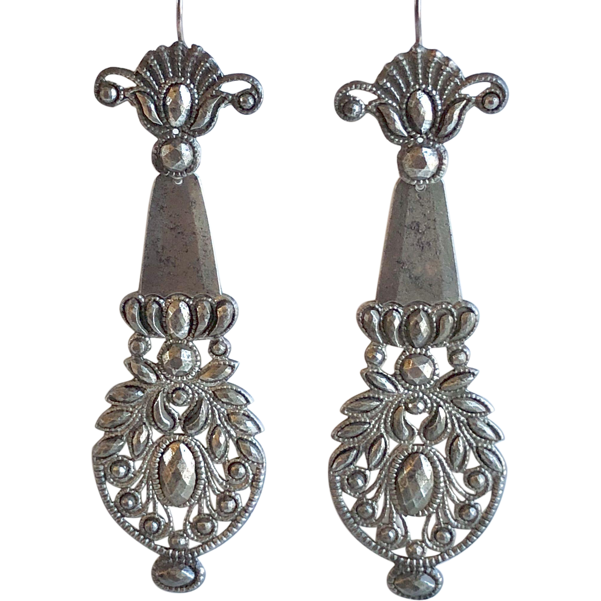 Rare and Dramatic Georgian Cut Steel Earrings