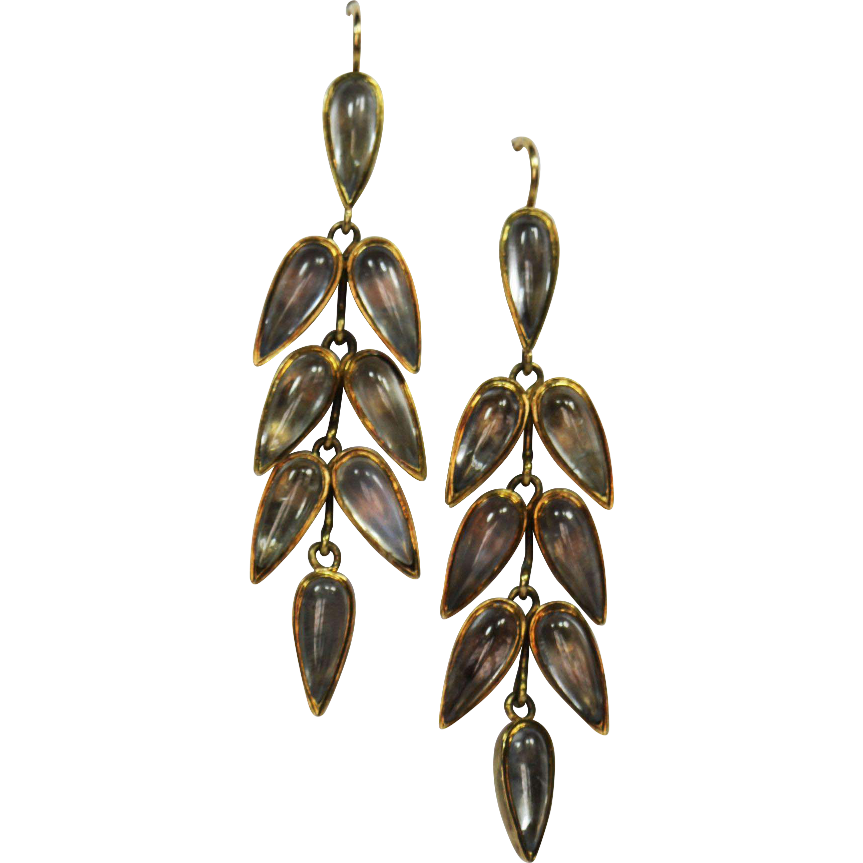 Droplets of the moon....Graceful Antique Moonstone Earrings