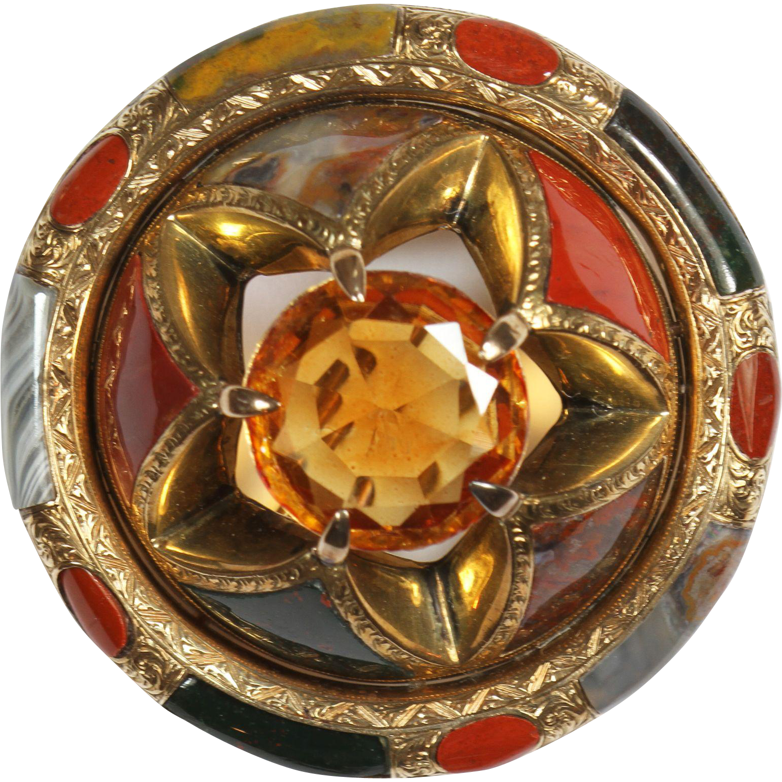 Superb Antique Gold Scottish Agate Pin