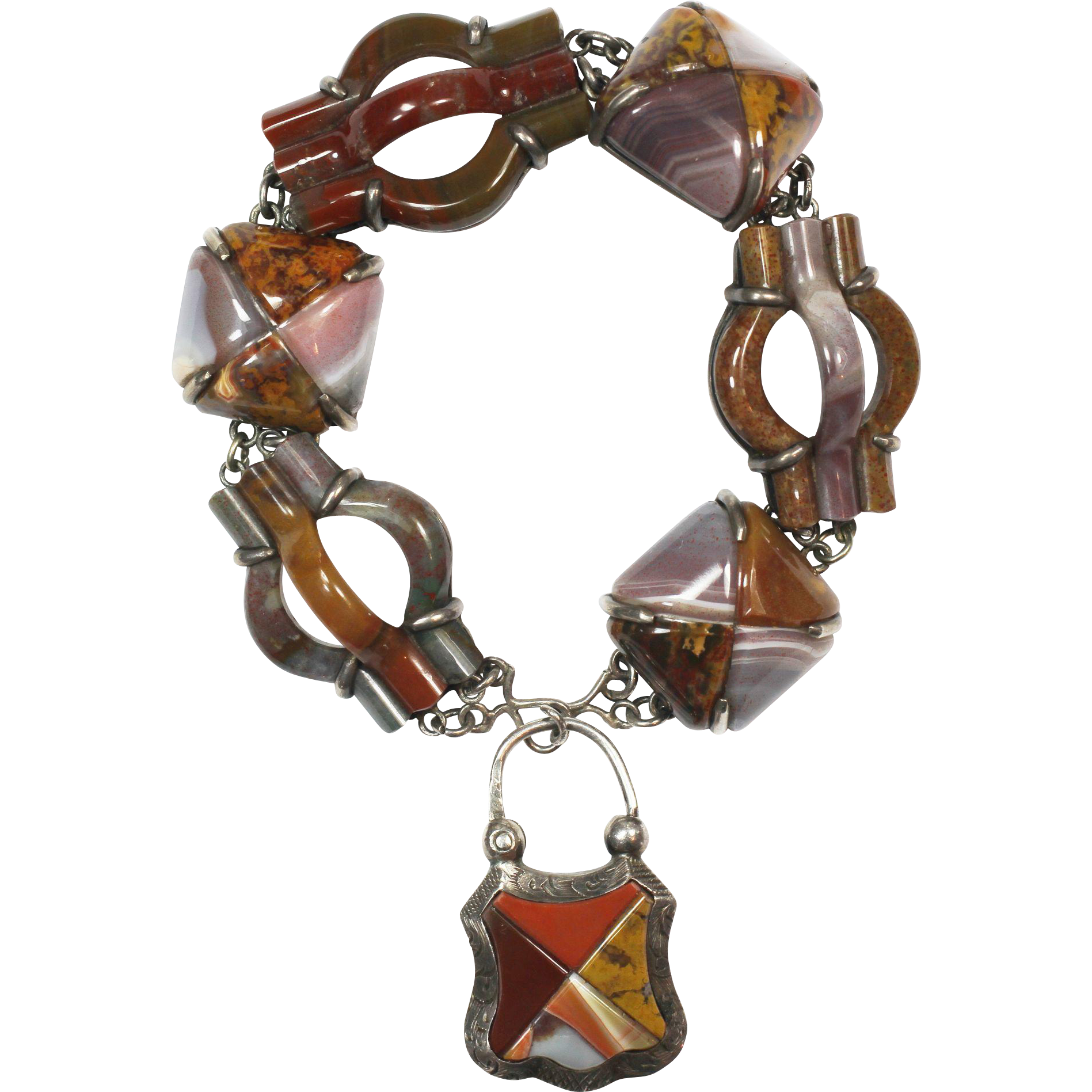Superlative Antique Scottish Agate Bracelet