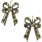Antique Chrysoberyl Bow Earrings 18th Century