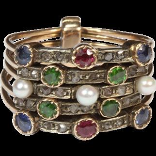 Antique Multi Band Harem  Gemstone Ring