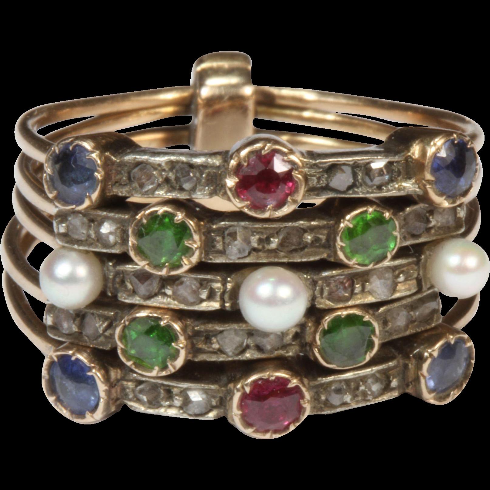antique multi band harem gemstone ring from