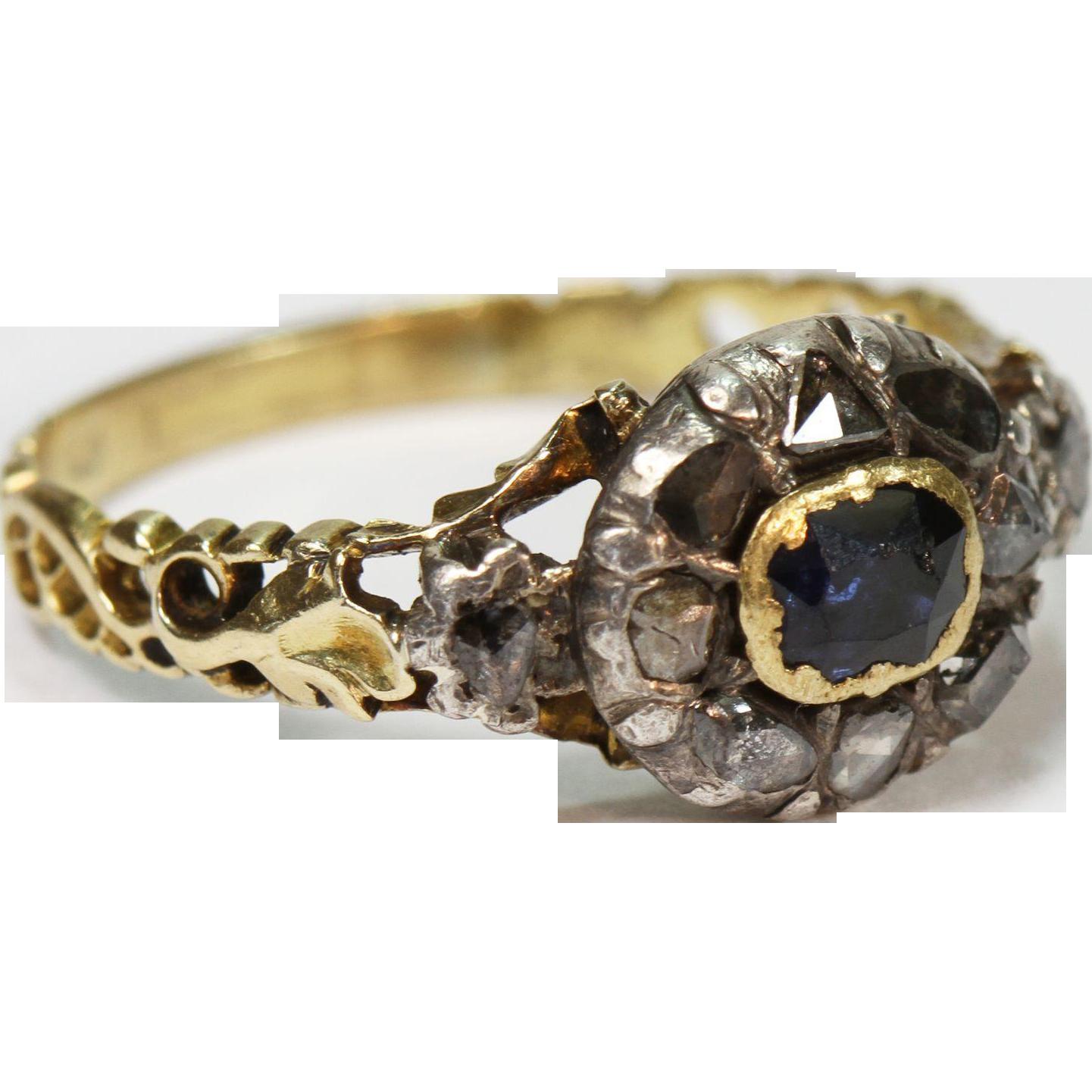 antique georgian sapphire diamond ring from