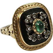 Bold Antique Gold French Emerald Diamond and Onyx Ring
