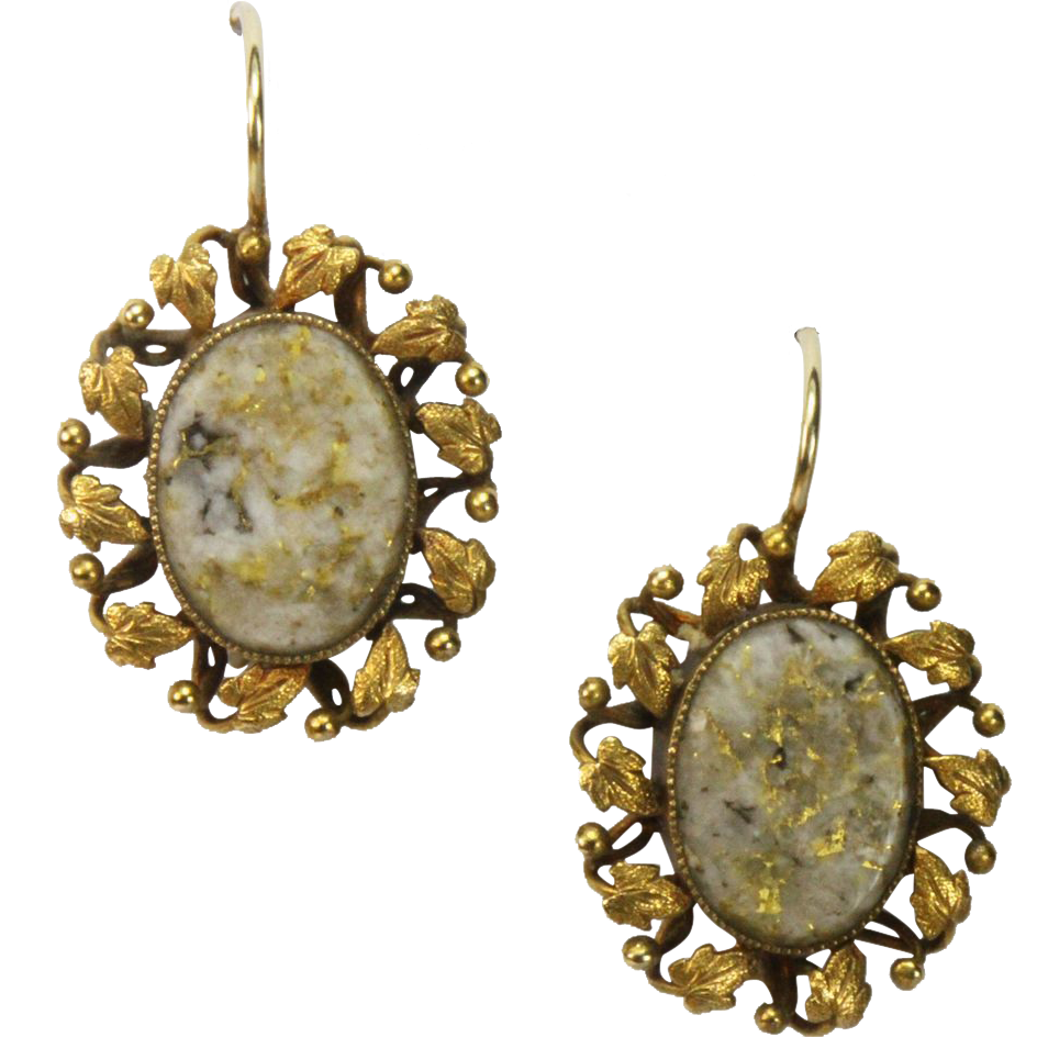 Rare Antique Victorian Gold in Quartz Earrings
