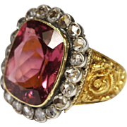 Regal Antique French Gold Tourmaline Diamond Ring