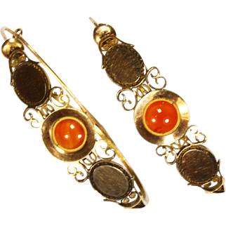 Antique French Gold Carnelian Georgian Earrings