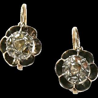 Antique Georgian French Diamond Flower Head Earrings