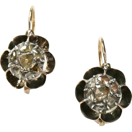 Antique Georgian French Diamond Flower Head Earrings