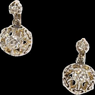 Elegant Antique French Diamond Earrings