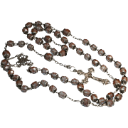 Antique Saphiret Glass Silver French Rosary