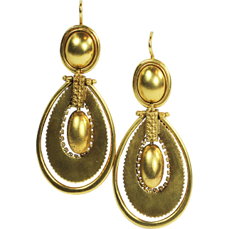 Impressive Victorian Antique Long Gold Earrings