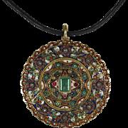 Extraordinary Antique Indian Emerald Gemstone Enamel Pendant