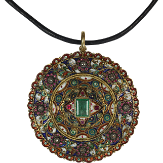 Extraordinary Antique Indian Emerald Gemstone Enamel Pendant