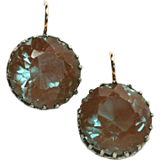 Glowing Antique Saphiret Large Solitaire Earrings