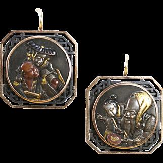 Antique Shakudo Gold Earrings