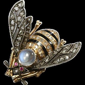 Antique Diamond Moonstone Bee Pin